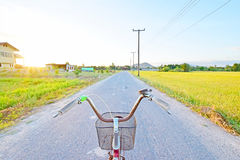 Opinião do cavaleiro da bicicleta imagens de stock