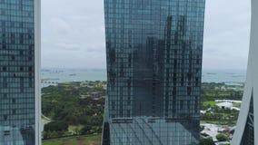 Opinião do centro da construção do arranha-céus do centro de negócios tiro Vista superior dos prédios de escritórios video estoque