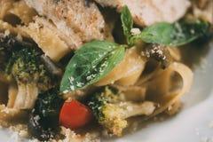 opinião do close-up da massa deliciosa do vegetariano fotografia de stock