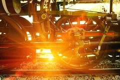 Opinião do close up das rodas velhas de um vagão railway Foto de Stock Royalty Free