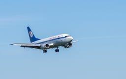 Opinião do close-up de Boeing no céu Foto de Stock Royalty Free