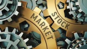 Opinião do close up de duas rodas denteadas douradas com as palavras: mercado de valores de ação, conceito do negócio Mecanismo d imagem de stock