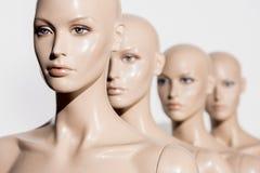 opinião do close-up de manequins calvos despidos na fileira no branco, fotos de stock royalty free