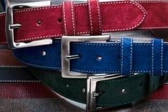 Opinião do close-up de três correias da camurça Imagens de Stock Royalty Free