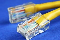 Opinião do Close-up do cabo amarelo do Ethernet (RJ45) Imagem de Stock Royalty Free