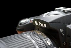 Opinião do close up do photocamera de Nicon Imagens de Stock Royalty Free