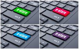 Opinião do close up dos botões com e-loja Fotos de Stock
