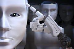 Opinião do close up na cabeça do robô 3D rendeu a ilustração Ilustração Royalty Free