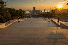 Opinião do curso da cidade de Odessa das escadas de Potemkin Fotografia de Stock Royalty Free