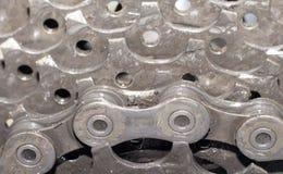 Opinião do detalhe da bicicleta da roda traseira com corrente & roda dentada Imagem de Stock