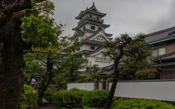 Opini?o do detalhe no castelo da ?gua de Imabari dentro da paisagem verde bonita r fotografia de stock