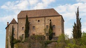 Opinião do detalhe no castelo Schenna Scena perto de Meran Schenna, província Bolzano, Tirol sul, Itália imagem de stock royalty free
