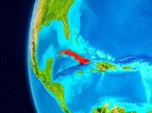Opinião do espaço de Cuba no vermelho Imagem de Stock Royalty Free