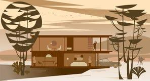 Opinião do fundo da casa de campo de vitrificação completa com o telhado liso na floresta no por do sol ilustração royalty free