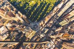Opinião do helicóptero de Columbus Circle e do Central Park em New York City Foto de Stock Royalty Free