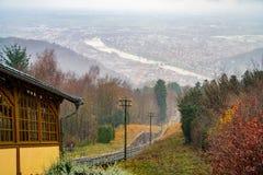 Opinião do inverno da cidade velha de Heidelberg em Alemanha Fotografia de Stock