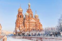 Opinião do inverno da igreja do salvador no sangue em St Petersbu Foto de Stock Royalty Free