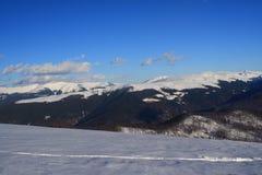 Opinião do inverno da montanha de Tarcu Foto de Stock Royalty Free