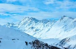 Opinião do inverno dos cumes de Silvretta (Áustria) Fotografia de Stock