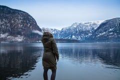 A opinião do inverno Hallstatter considera fotografia de stock