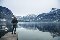A opinião do inverno Hallstatter considera fotografia de stock royalty free