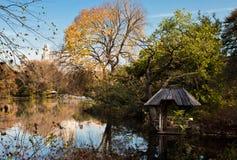 Opinião do lago do Central Park NYC em Autumn November Day fotos de stock