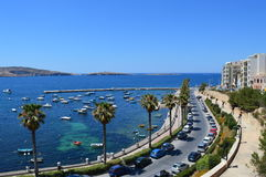 Opinião do litoral, Malta Fotografia de Stock