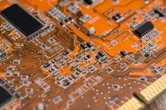 Opinião do macro do cartão-matriz do computador Fotografia de Stock
