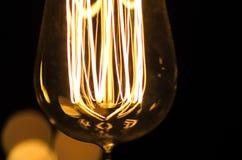 Opinião do macro do filamento da ampola do estilo do vintage Imagens de Stock