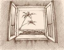 Opinião do mar da janela ilustração do vetor