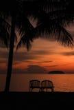 Opinião do mar da noite, silhueta no crepúsculo, Malaysia Imagens de Stock