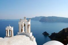 Opinião do mar de Oia na ilha de Santorini, Grécia Fotografia de Stock Royalty Free
