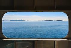 Opinião do mar de uma janela do barco Foto de Stock Royalty Free
