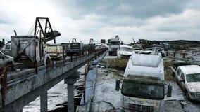 Opinião do mar do apocalipse Ponte destruída Conceito do Armageddon Animação 4K realística super ilustração stock