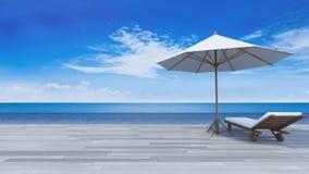 opinião do mar do terraço 3d Fotografia de Stock Royalty Free