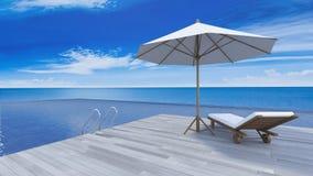 opinião do mar do terraço 3d Imagem de Stock Royalty Free