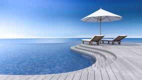 opinião do mar do terraço 3d Fotos de Stock Royalty Free