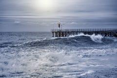 Opinião do mar na noite fotografia de stock royalty free