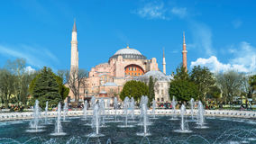 Opinião do museu de Hagia Sophia Ayasofya de Sultan Ahmet Park em Istambul, Turquia Imagens de Stock