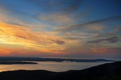 Opinião do nascer do sol da parte superior da montanha de Cadillac Foto de Stock