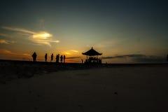 Opinião do nascer do sol na praia de Sanur Imagem de Stock Royalty Free