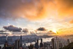 Opinião do nascer do sol em Victoria Peak em Hong Kong Fotografia de Stock