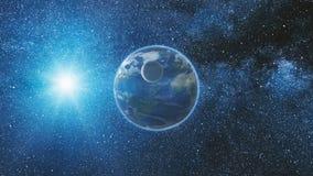 Opinião do nascer do sol do espaço na terra e na lua do planeta Fotografia de Stock Royalty Free