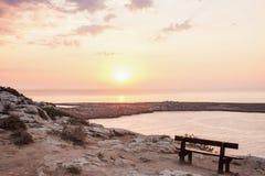 Opinião do nascer do sol do ponto de vista superior do cabo Greco em Cyrpus foto de stock royalty free