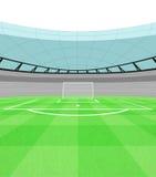 Opinião do objetivo do atirador do futebol no vetor do campo de jogos Fotos de Stock Royalty Free