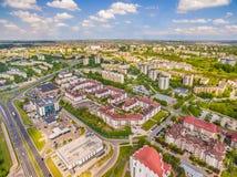 Opinião do olho do ` s do pássaro de Lublin Distrito Czuby visto do ar Fotografia de Stock