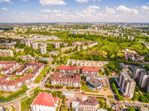 Opinião do olho do ` s do pássaro de Lublin Distrito Czuby visto do ar Fotografia de Stock Royalty Free