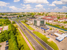 Opinião do olho do ` s do pássaro de Lublin Distrito Czuby visto do ar Fotos de Stock