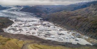 Opinião do olho dos zangões da geleira de Islândia imagens de stock royalty free