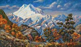 Opinião do outono da montanha dois-dirigida Elbrus imagens de stock